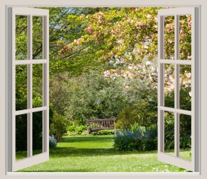 Photo Courtesy of Karen Arnold http://www.publicdomainpictures.net/view-image.php?image=42362&picture=spring-garden-window-frame-view